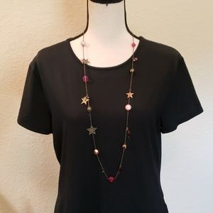 Candie's pink/ silver beaded w/star charm necklace